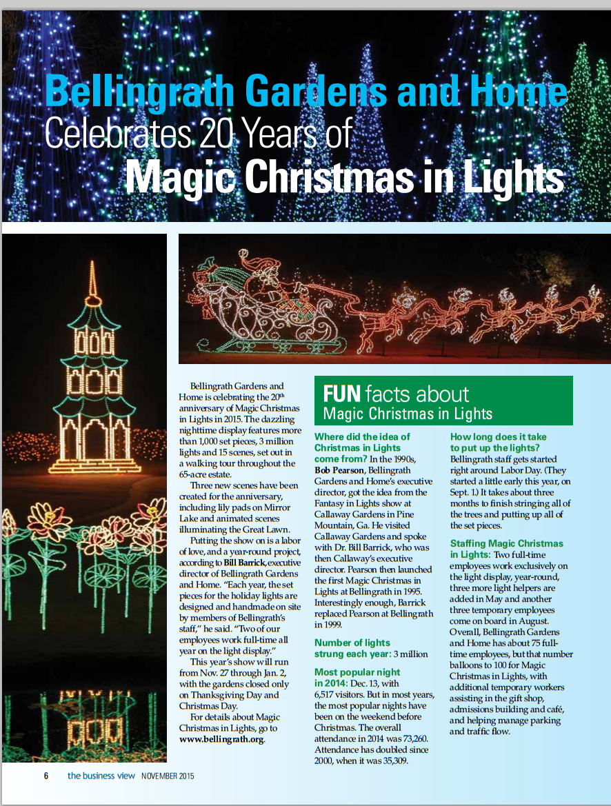 Magic christmas in lights featured in mobile chamber s november business view bellingrath for Bellingrath gardens christmas lights 2016
