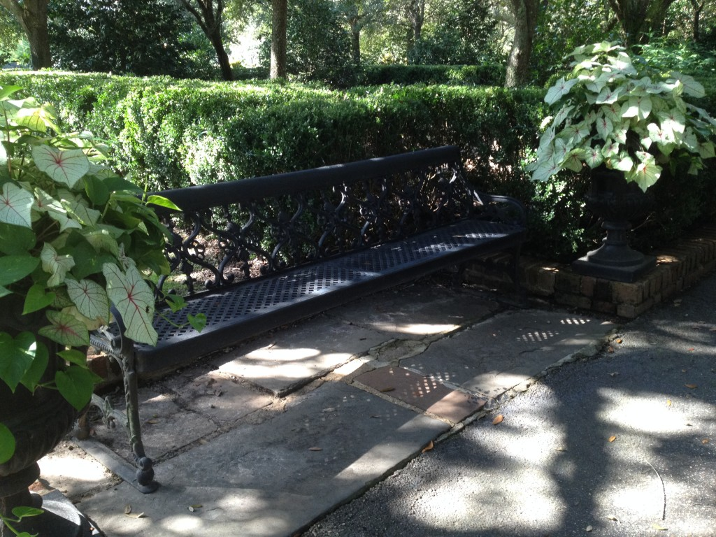 This bench, located near the Garden fountains, is a replica of the benches in Bienville Square in downtown Mobile.