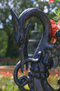 Detail of urn outside of the Conservatory in the Rose Garden, made by J.W. Fiske N.Y.