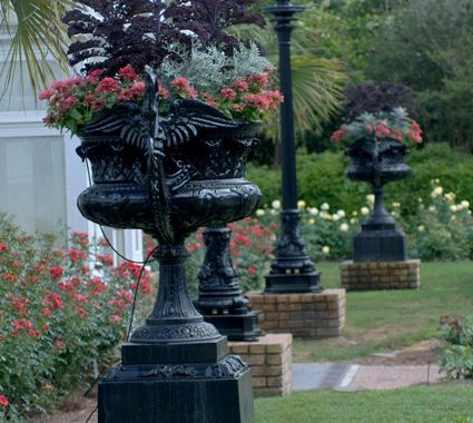 Iron Planters Outside The Conservatory In The Rose Garden, Made And Marked By J.W. Fiske N.Y.