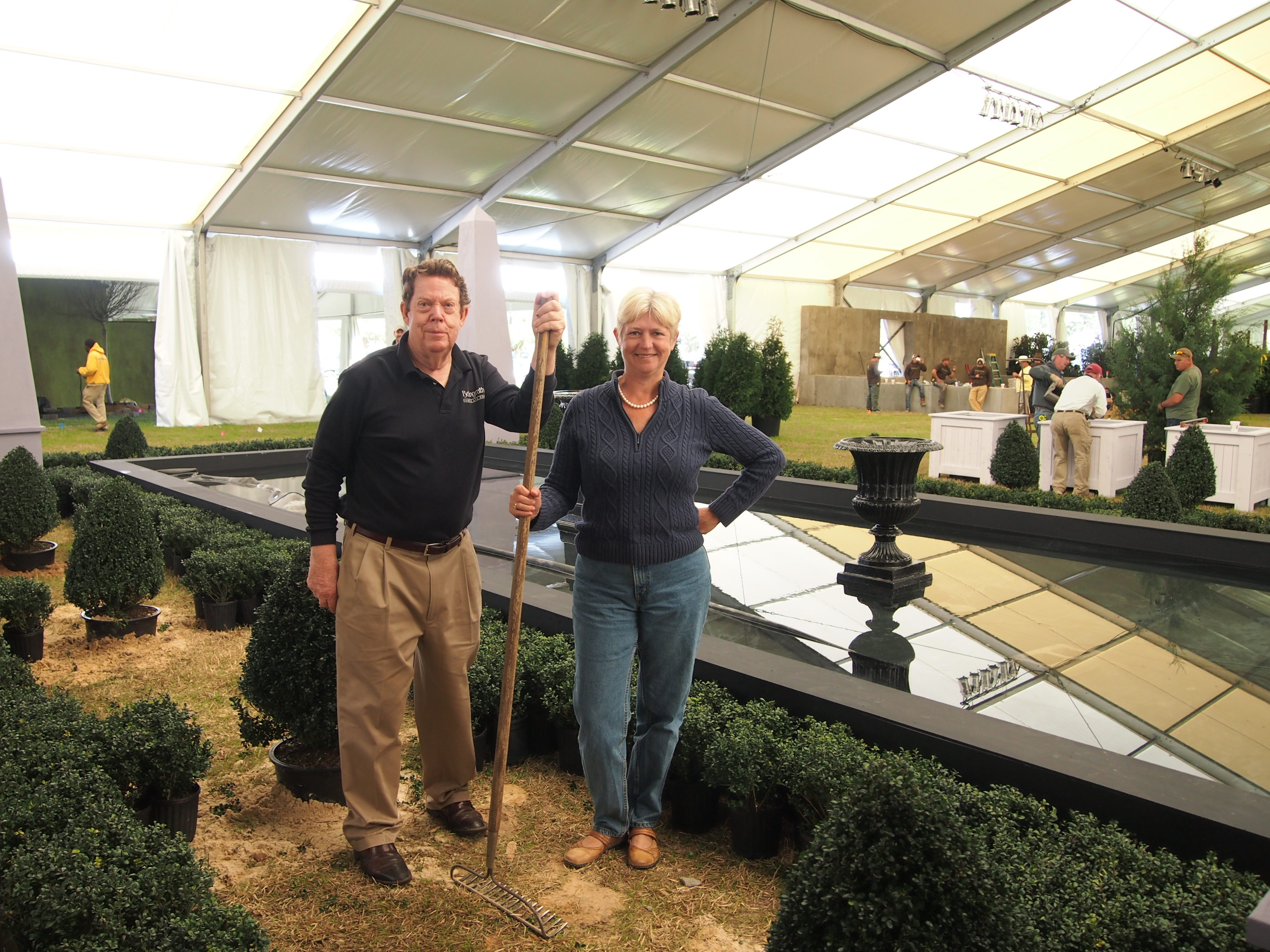Dr. Bill Barrick and Display Coordinator Barbara Smith pose with the Bellingrath display at the Festival of Flowers on March 4.