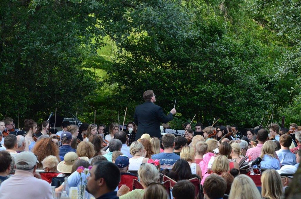 The Mobile Symphony Youth Orchestra performs the annual Mother's Day Evening Garden Concert on Live Oak Plaza.