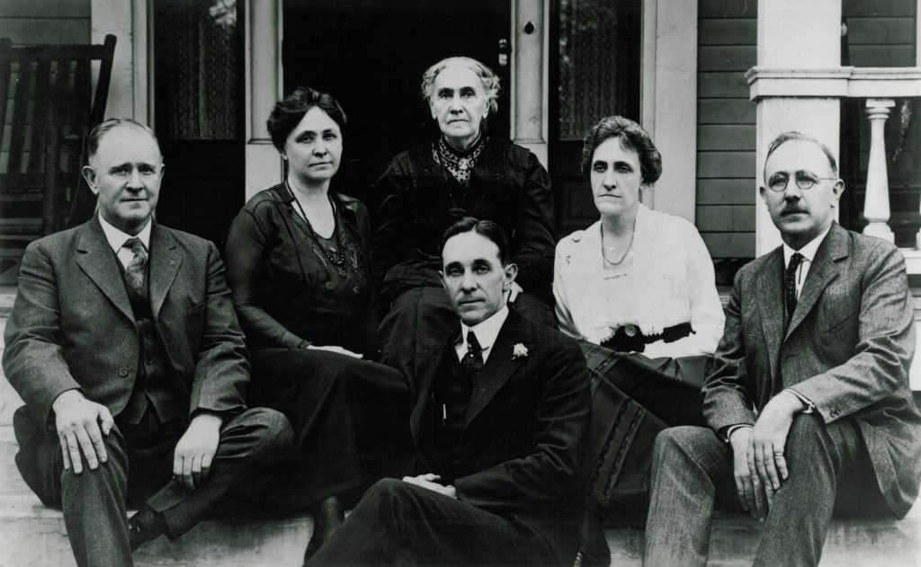 Catherine McMillan Bellingrath, center, is shown with her children at a Thanksgiving reunion in Montgomery in 1921. From left are Leonard, Maude Bellingrath Burnett, Walter, Kate Bellingrath Brown and Will.