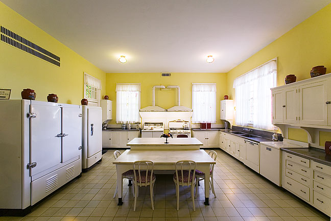 The kitchen in the Bellingrath Home was remodeled in 1941 to include a refrigerator, deep freeze, electric range and two automatic dishwashers.
