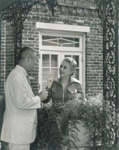 George Downing with actress Celeste Holm.