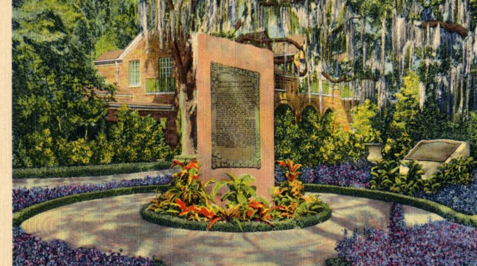 Monolith. Garden. Spanish Moss. Postcard. Nd?. Museum Collection. ?Scene In Bellingrath Gardens, Mobile, Ala.?