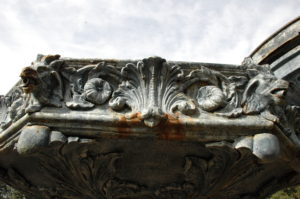 Detail of the fountain embellishments, before restoration.